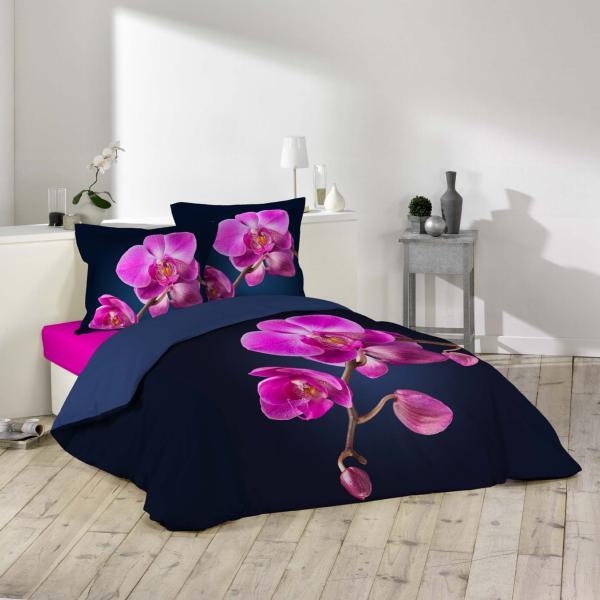 Parure housse de couette orchid e avec dessin plac noir - Helline housse de couette ...
