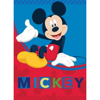 Plaid Polaire Disney Mickey , Bleu/rouge, 100x140cm, 100% Polyester