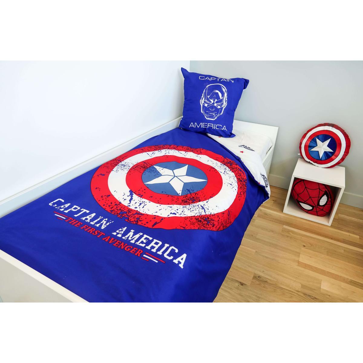 parure housse de couette captain america avengers bleu 1. Black Bedroom Furniture Sets. Home Design Ideas