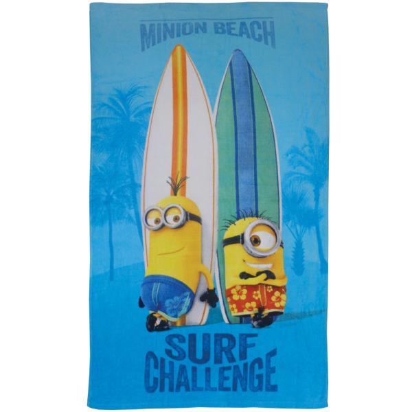 drap de plage minions surf 100 coton bleu en 70x120cm j k markets. Black Bedroom Furniture Sets. Home Design Ideas