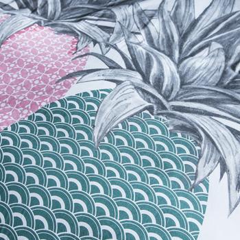 parure housse de couette ananas blanc vert 220x240cm 2 personnes 100 coton. Black Bedroom Furniture Sets. Home Design Ideas