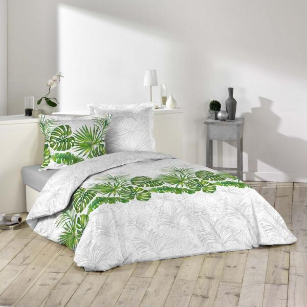 parure housse de couette amazone tropicale vert et blanc. Black Bedroom Furniture Sets. Home Design Ideas