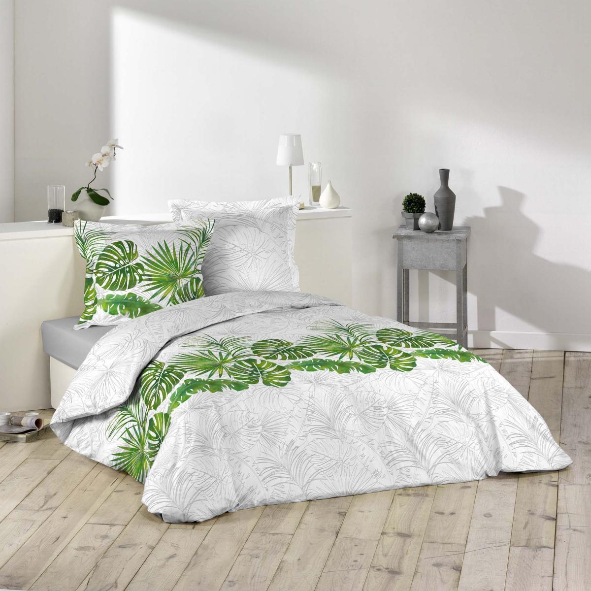 parure housse de couette amazone tropicale vert et blanc 100 coton j k markets. Black Bedroom Furniture Sets. Home Design Ideas