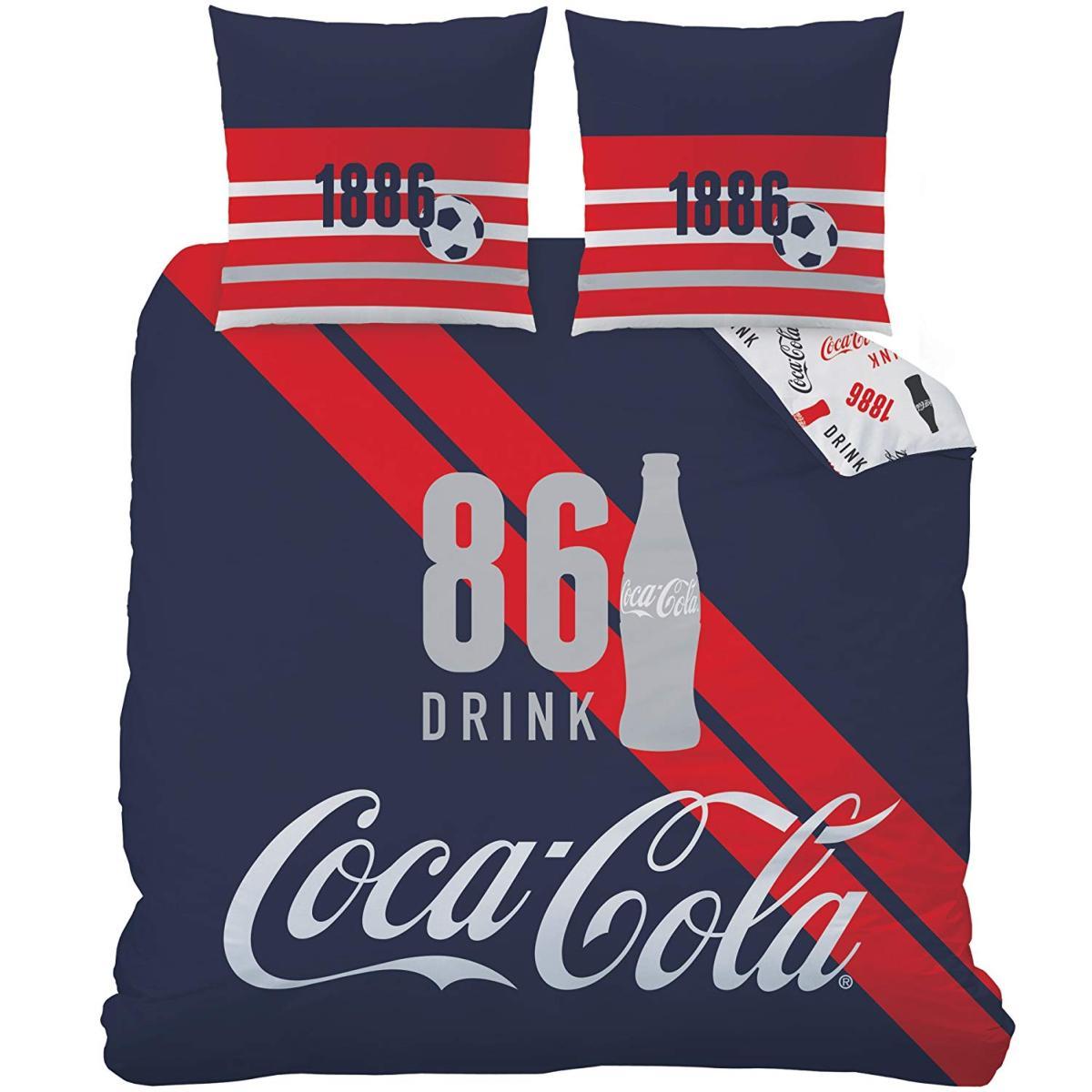 Parure housse de couette coca cola sport bleu rouge 220x240cm 2 personnes polycoton - Housse de couette coca cola ...