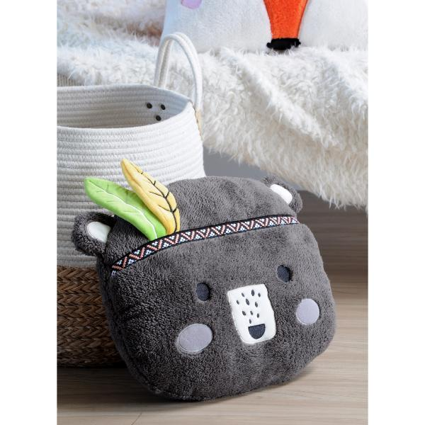 Coussin Enfant Ourson, Ultra doux, 40x40cm, Anthracite, 100% Polyester