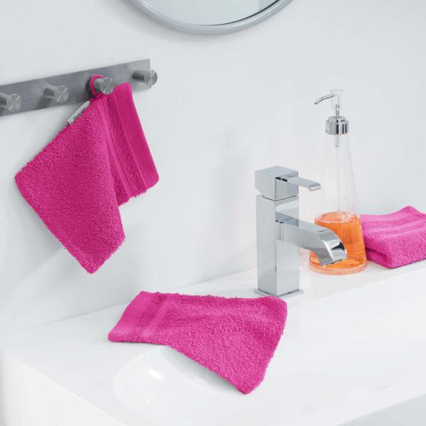 Lot de 2 Gants de toilette 15x21cm Rose Fuchsia