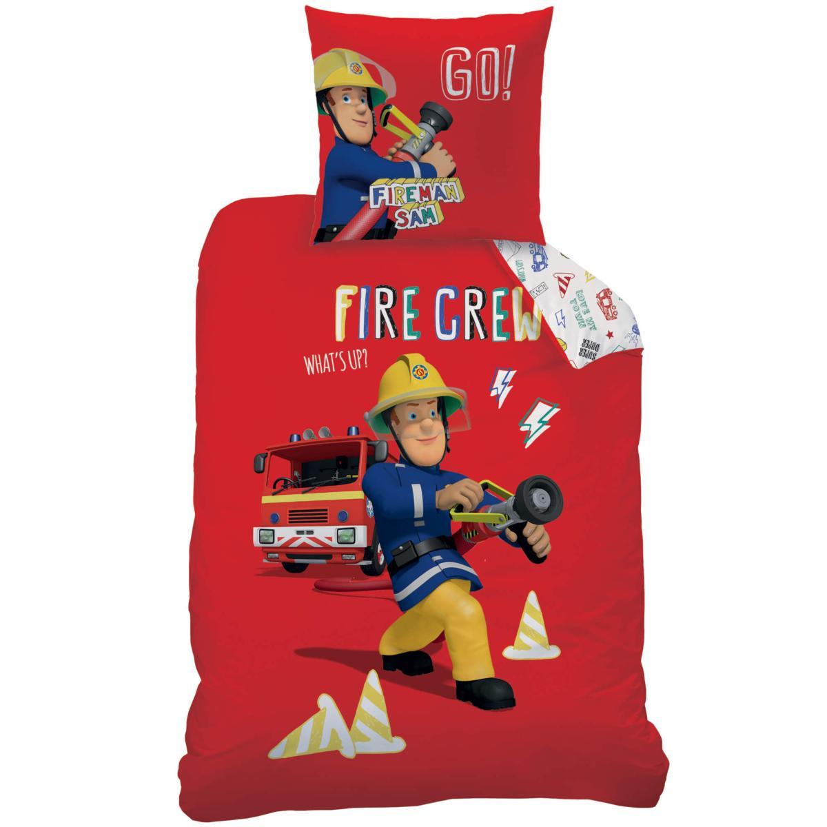 Parure housse de couette sam le pompier fire crew rouge - Housse de couette sam le pompier ...