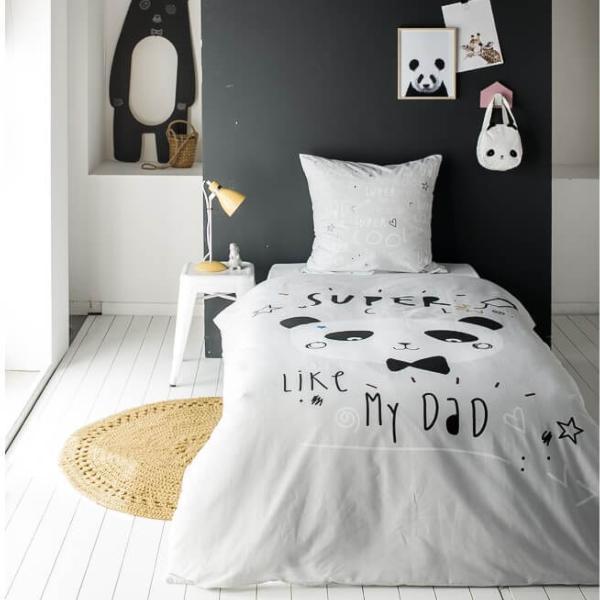parure housse de couette cool panda 140x200cm 1 personne 100 coton j k markets. Black Bedroom Furniture Sets. Home Design Ideas