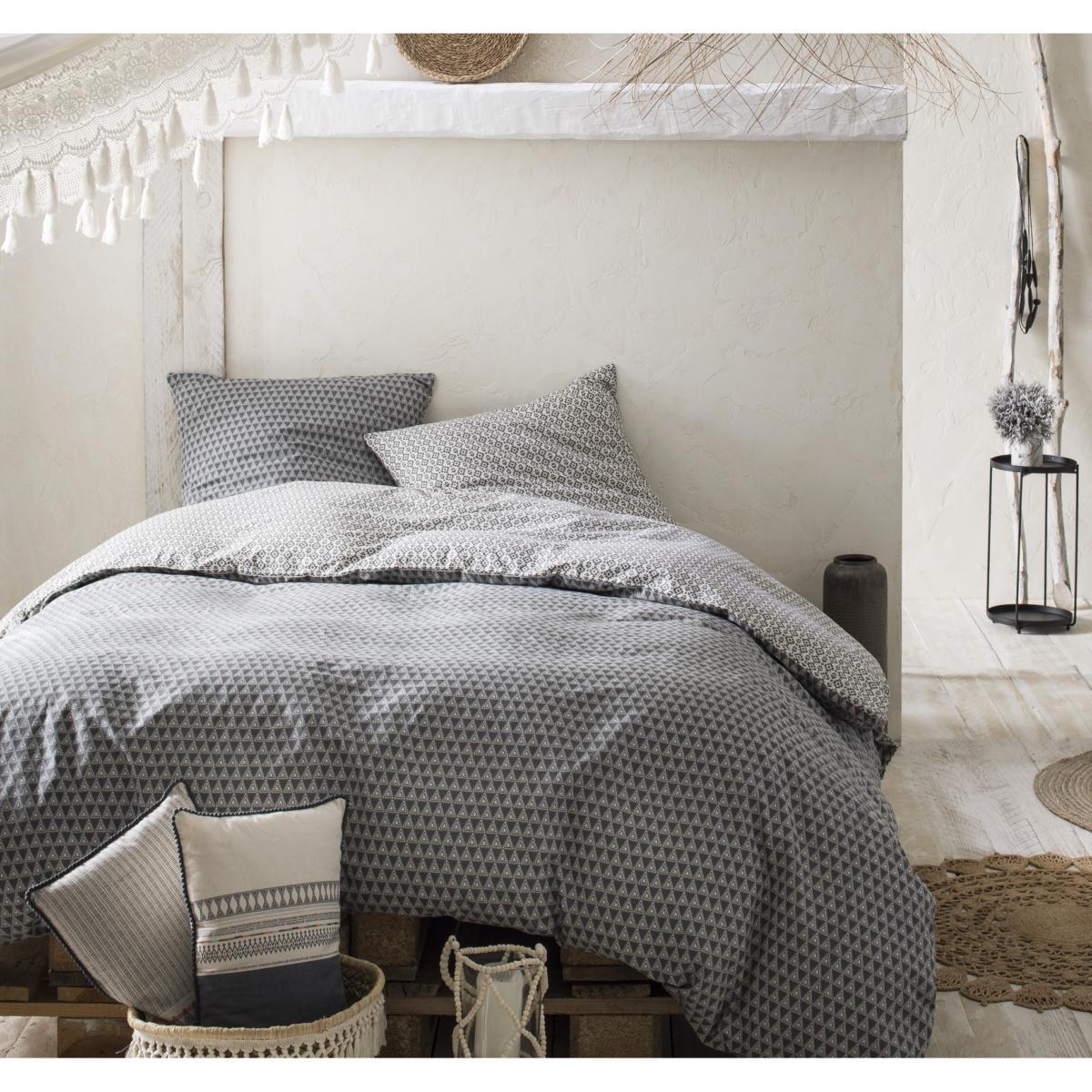 parure housse de couette kilim hippie chic grise r versible 100 coton 57 fils j k markets. Black Bedroom Furniture Sets. Home Design Ideas