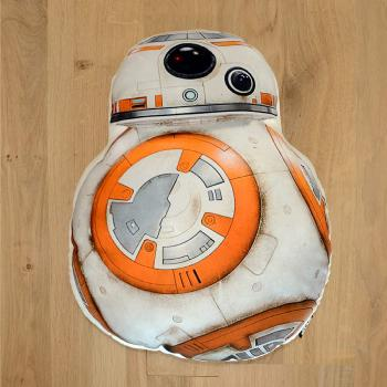 Coussin 3D Star Wars BB8, 38x32cm, Blanc, 100% Polyester