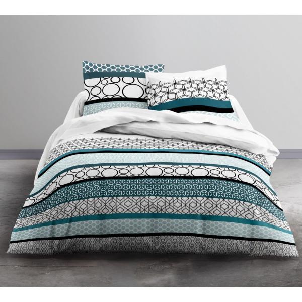 parure housse de couette tortuga bleu 220x240cm 2 personnes 100 coton j k markets. Black Bedroom Furniture Sets. Home Design Ideas