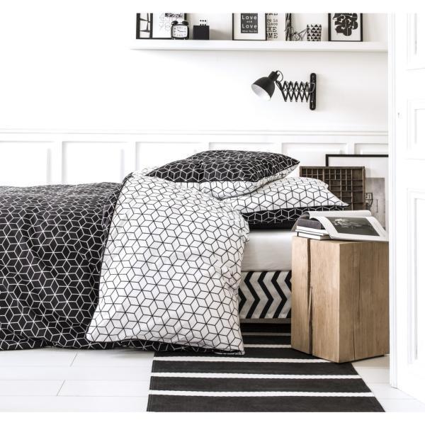 parure housse de couette cubi g om trique noire et blanche j k markets. Black Bedroom Furniture Sets. Home Design Ideas