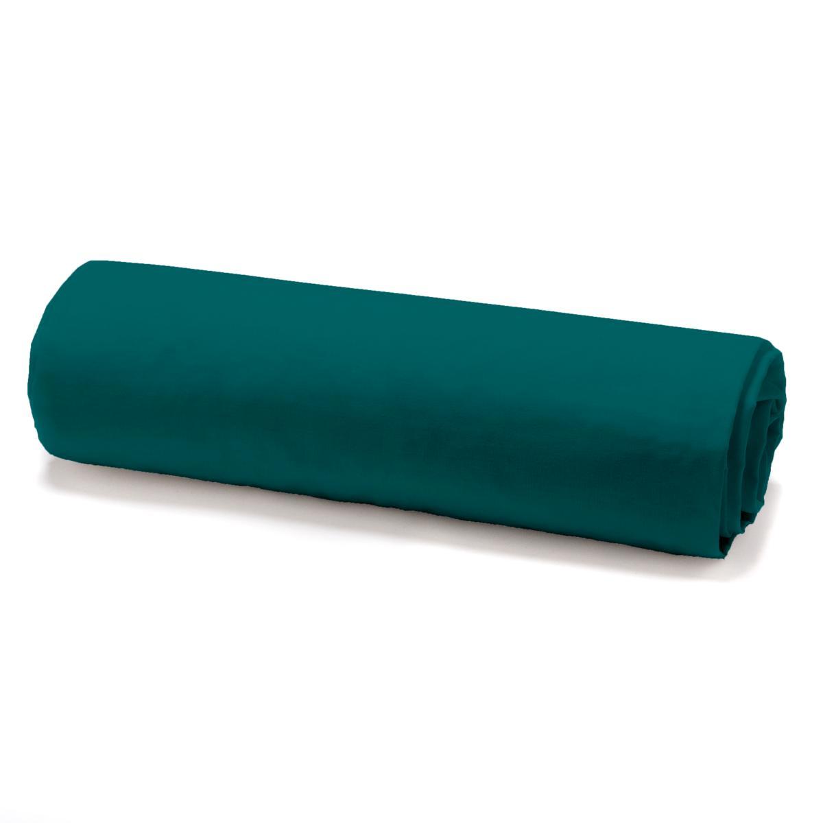 drap housse vert emeraude 140x190cm 100 coton j k markets. Black Bedroom Furniture Sets. Home Design Ideas