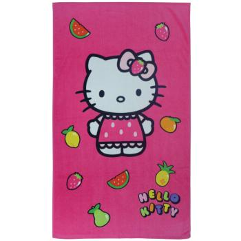Drap de plage ou de bain Hello Kitty Fruity, Rose Fuchsia, 70x120cm, 100% Coton