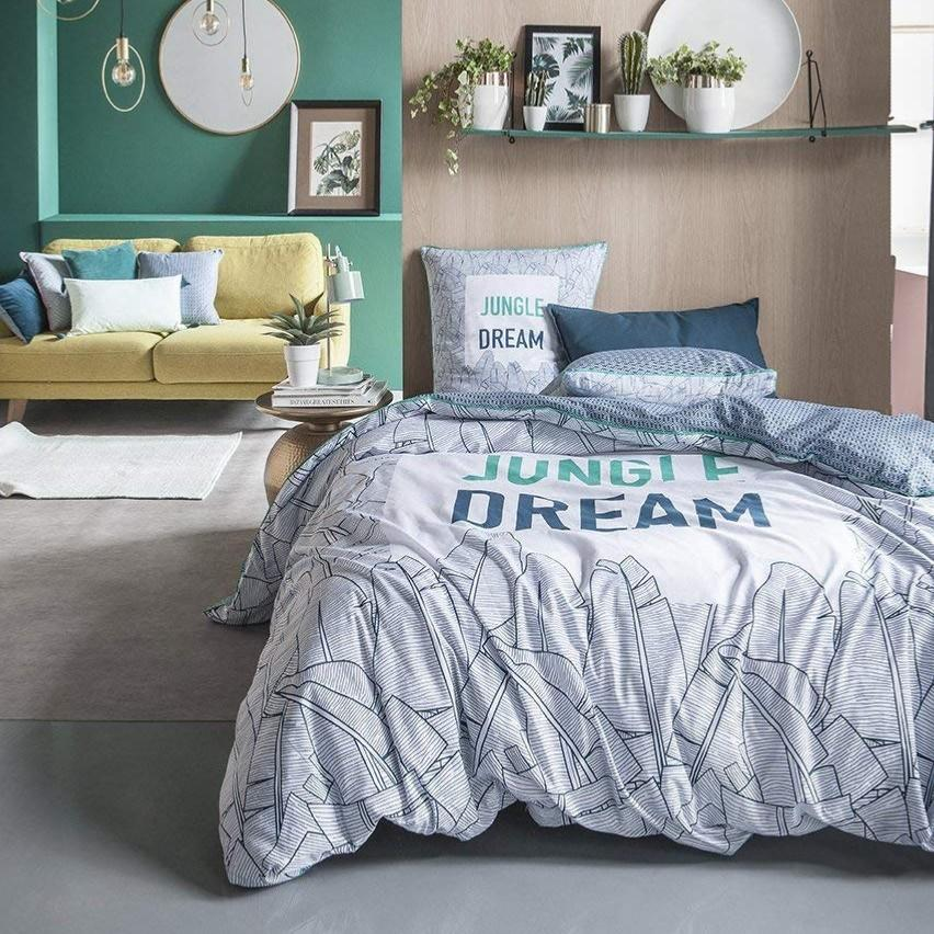 parure housse de couette jungle dream bleu vert 220x240cm 2 personnes 100 coton. Black Bedroom Furniture Sets. Home Design Ideas