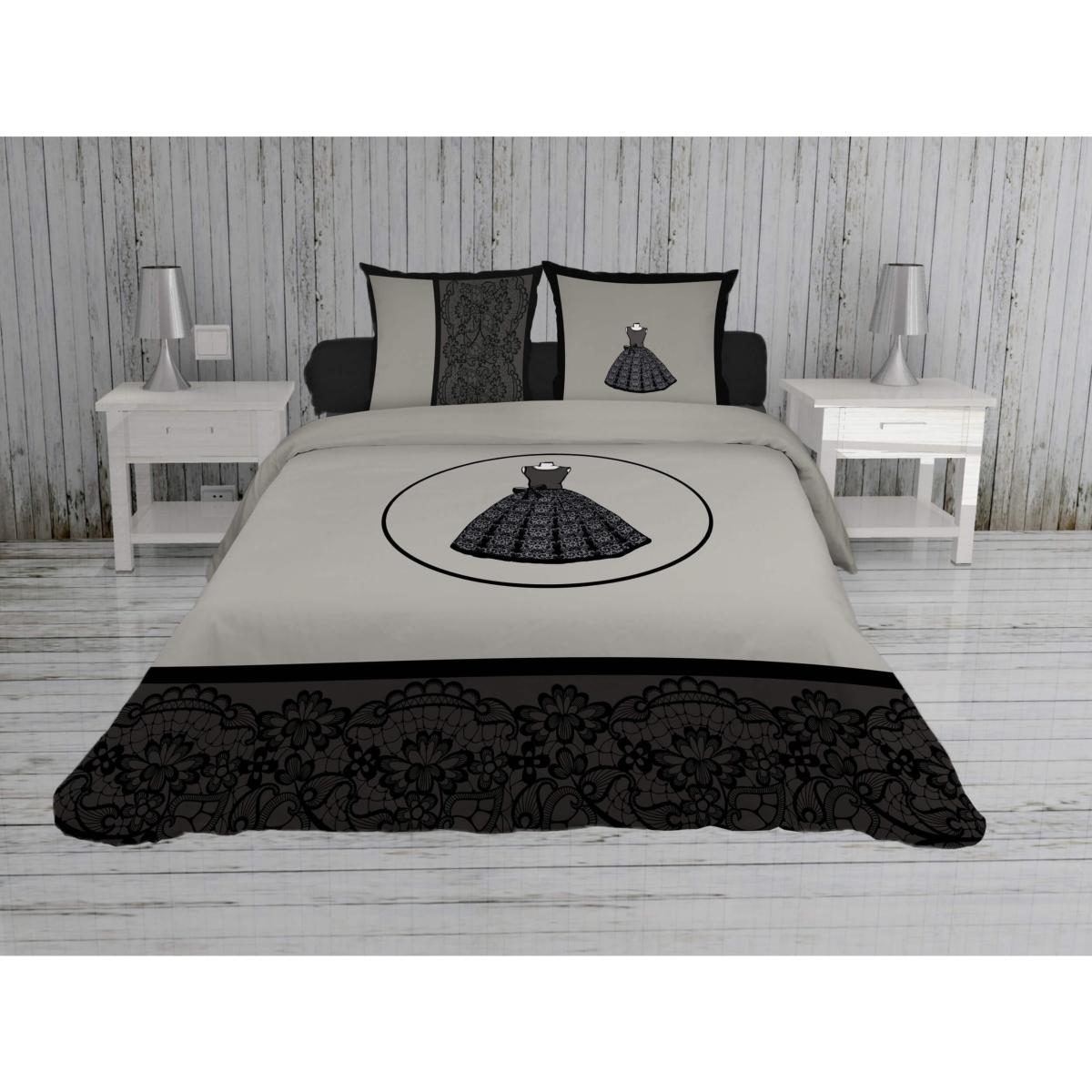 Housse De Couette Noir Blanc Gris housse de couette anais, petite robe noire, 220x240cm, 2 personnes, 100%  coton