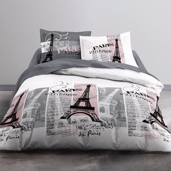 parure housse de couette vintage paris 220x240cm 100 coton j k markets. Black Bedroom Furniture Sets. Home Design Ideas