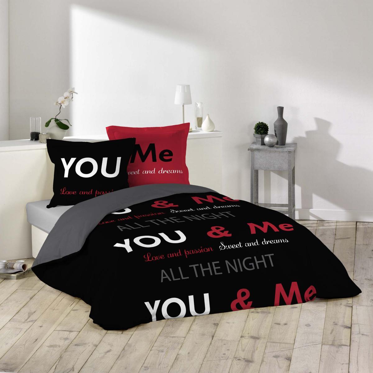 parure housse de couette couple toi et moi you and me noire et rouge j k markets. Black Bedroom Furniture Sets. Home Design Ideas