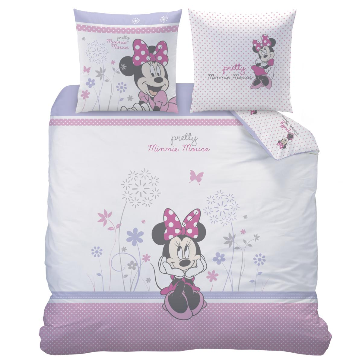 parure housse de couette minnie poetic flower 220x240cm 100 coton j k markets. Black Bedroom Furniture Sets. Home Design Ideas
