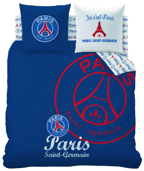 Housse de couette PSG Red Score - Paris Saint-Germain, 220x240cm, 2 personnes, 100% Coton