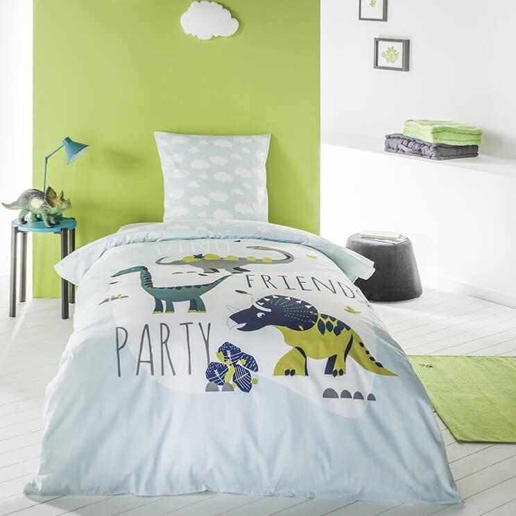 parure housse de couette dino friends 140x200cm 1 personne 100 coton j k markets. Black Bedroom Furniture Sets. Home Design Ideas