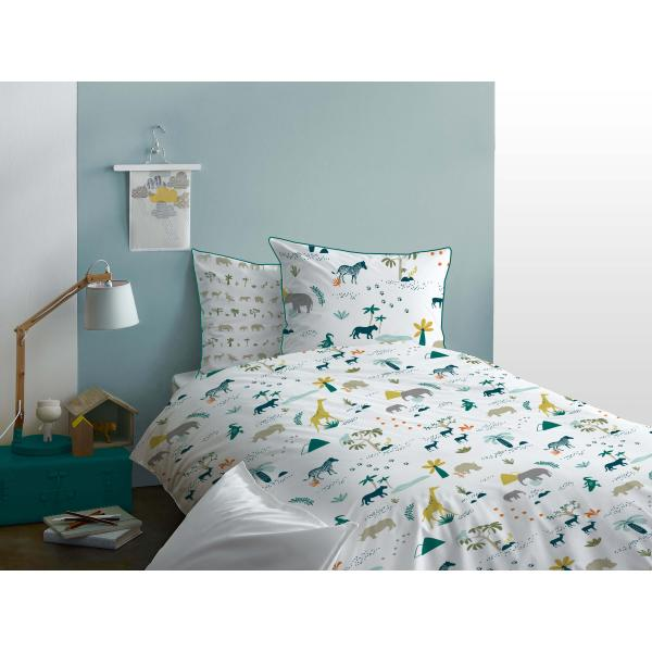 parure housse de couette safari animaux de la jungle 1 personne en 100 coton j k markets. Black Bedroom Furniture Sets. Home Design Ideas