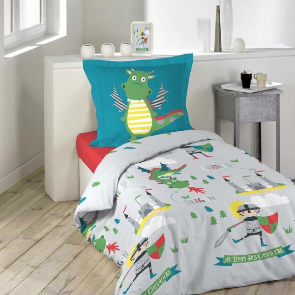 Housse De Couette Enfant Garcon.Housse De Couette Petit Dragon 140x200cm 1 Personne 100 Coton
