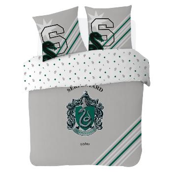 Housse de couette Harry Potter Serpentard, Gris, 200x200cm, 100% Coton