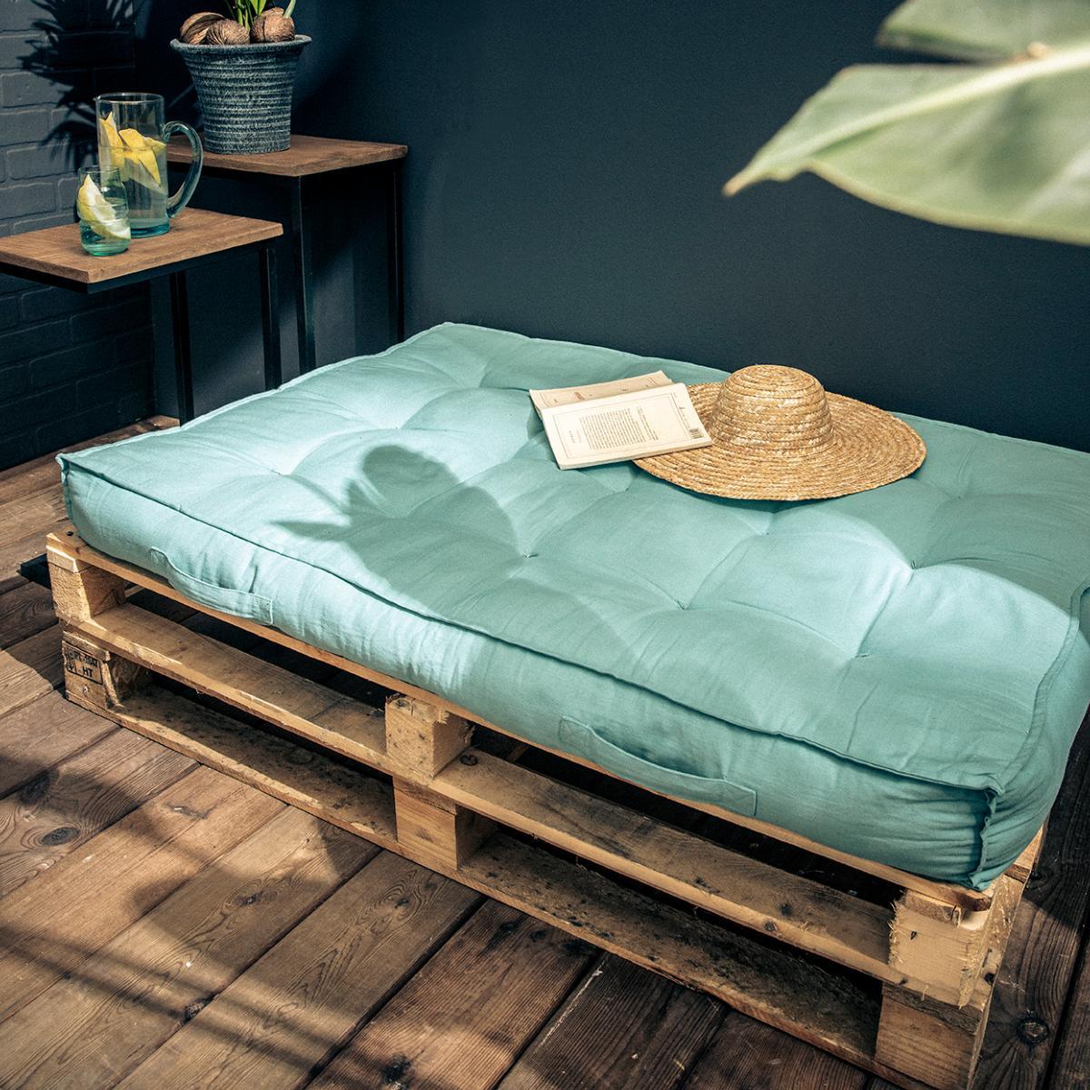 Matelas Pour Palette 120x80x15cm 100 Coton Couleur Bleu Cielsky
