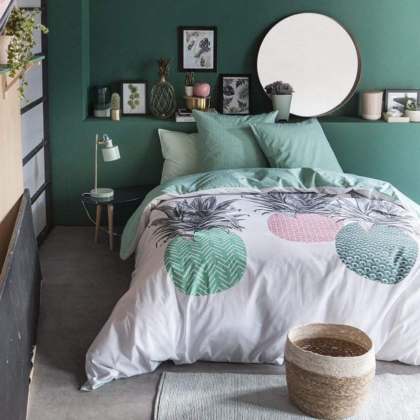 parure housse de couette ananas blanc vert 220x240cm 2. Black Bedroom Furniture Sets. Home Design Ideas