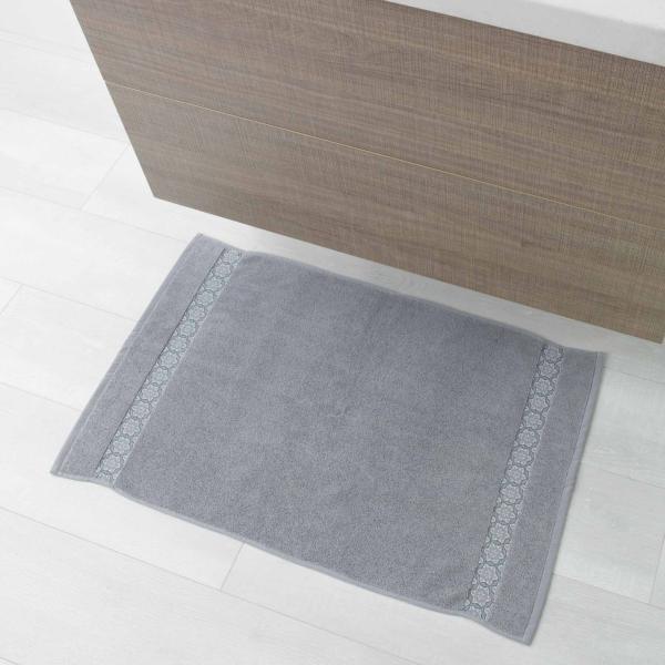tapis de sortie de bain ou de douche 50x85cm gris clair gamme ad lie 100 coton j k markets. Black Bedroom Furniture Sets. Home Design Ideas