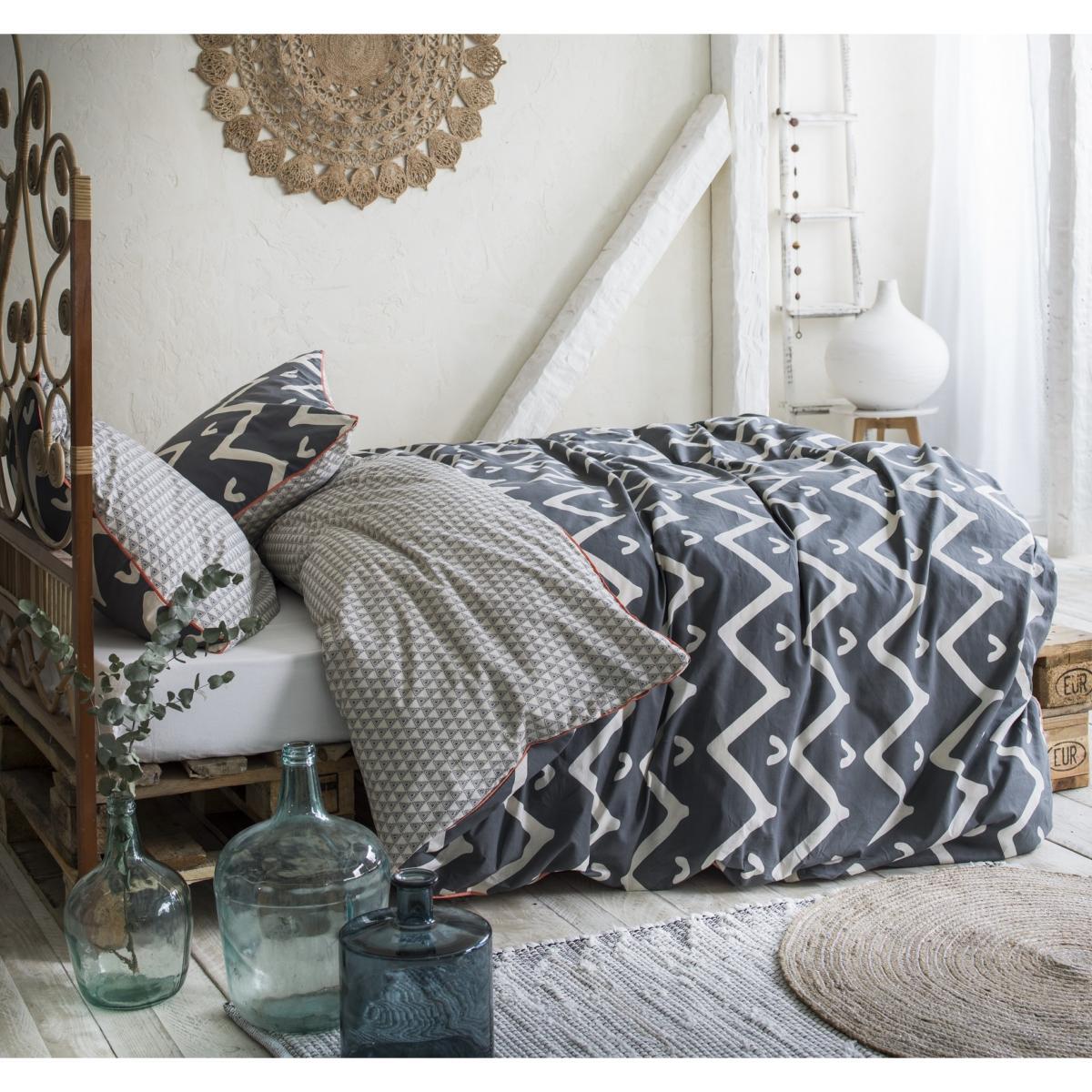 parure housse de couette karma hippie chic bleu r versible. Black Bedroom Furniture Sets. Home Design Ideas