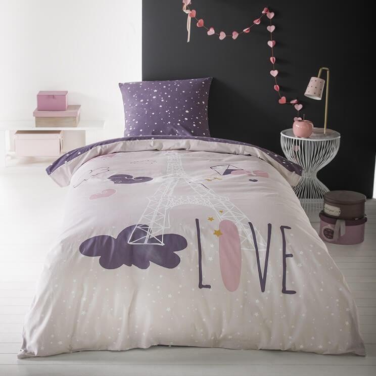 parure housse de couette city love paris 140x200cm 1 personne 100 coton j k markets. Black Bedroom Furniture Sets. Home Design Ideas