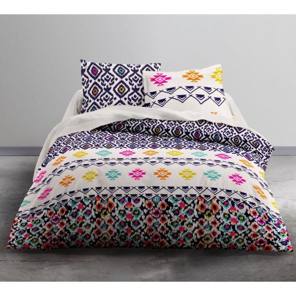 parure housse de couette woodstik multicolore 220x240cm 2 personnes 100 coton j k markets. Black Bedroom Furniture Sets. Home Design Ideas