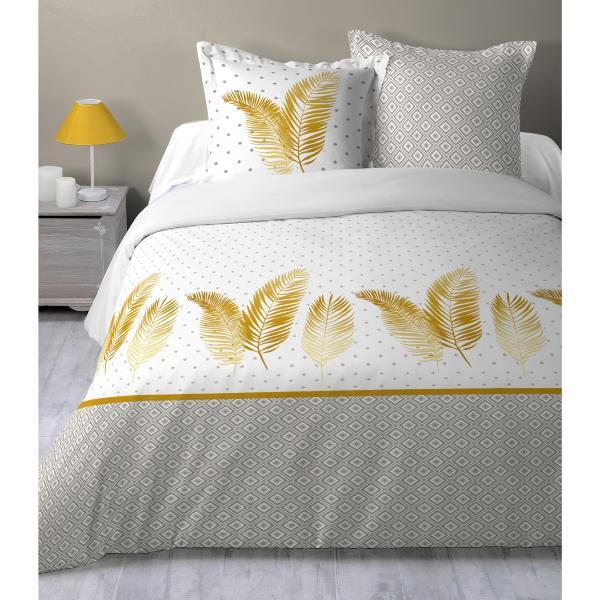 parure housse de couette plume d 39 or exolu gris clair or. Black Bedroom Furniture Sets. Home Design Ideas