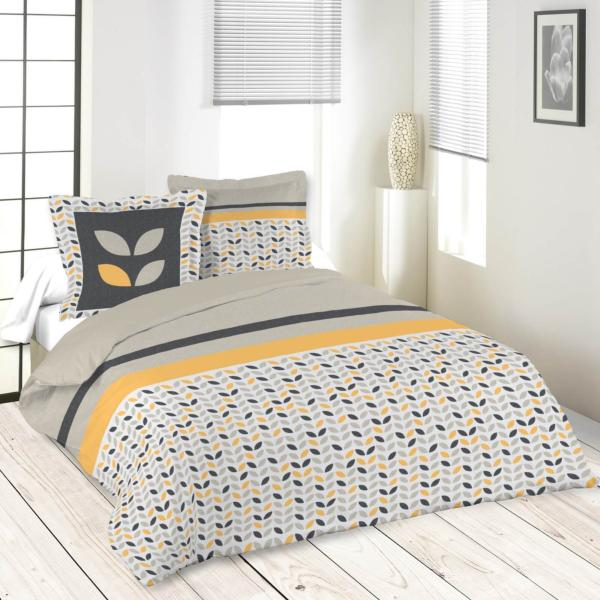 parure housse de couette pepa gris jaune 220x240cm 100 coton j k markets. Black Bedroom Furniture Sets. Home Design Ideas