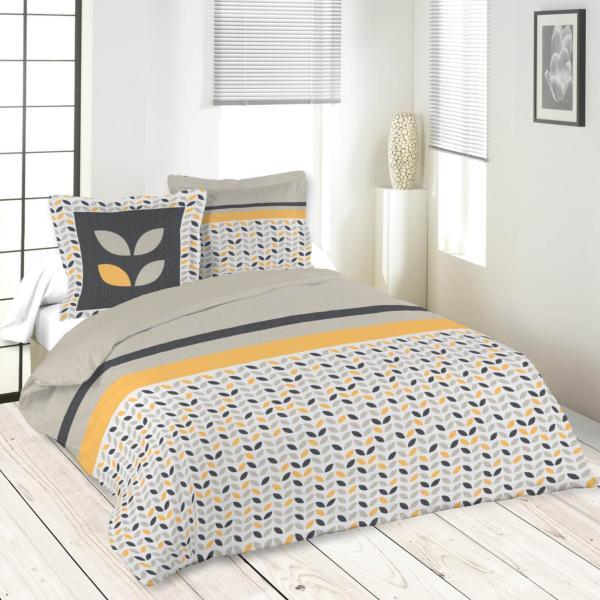 parure housse de couette pepa gris jaune 220x240cm 100 coton j k markets. Black Bedroom Furniture Sets. Home Design Ideas