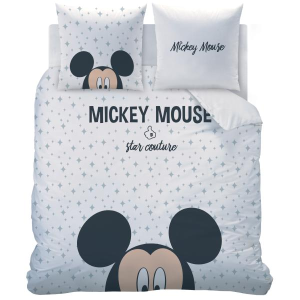 parure housse de couette mickey star couture 220x240cm 2 personnes 100 coton j k markets. Black Bedroom Furniture Sets. Home Design Ideas