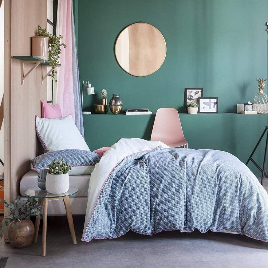 parure housse de couette tropik bleu 220x240cm 2. Black Bedroom Furniture Sets. Home Design Ideas