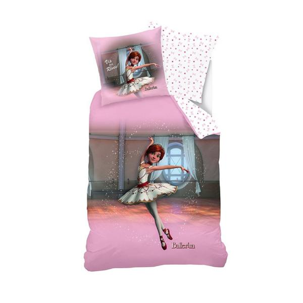 parure housse de couette ballerina 140x200cm 1 personne 100 coton j k markets. Black Bedroom Furniture Sets. Home Design Ideas