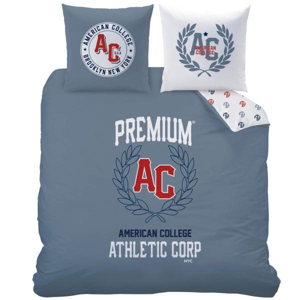 parure housse de couette american college athletic bleu. Black Bedroom Furniture Sets. Home Design Ideas