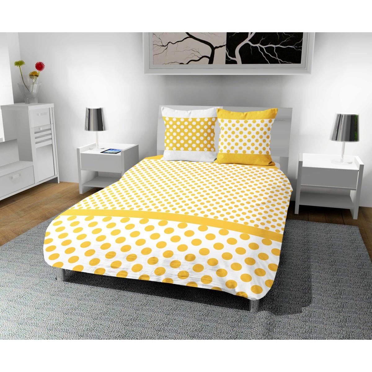 parure housse de couette pois jaune et blanche microfibre 2 personnes j k markets. Black Bedroom Furniture Sets. Home Design Ideas