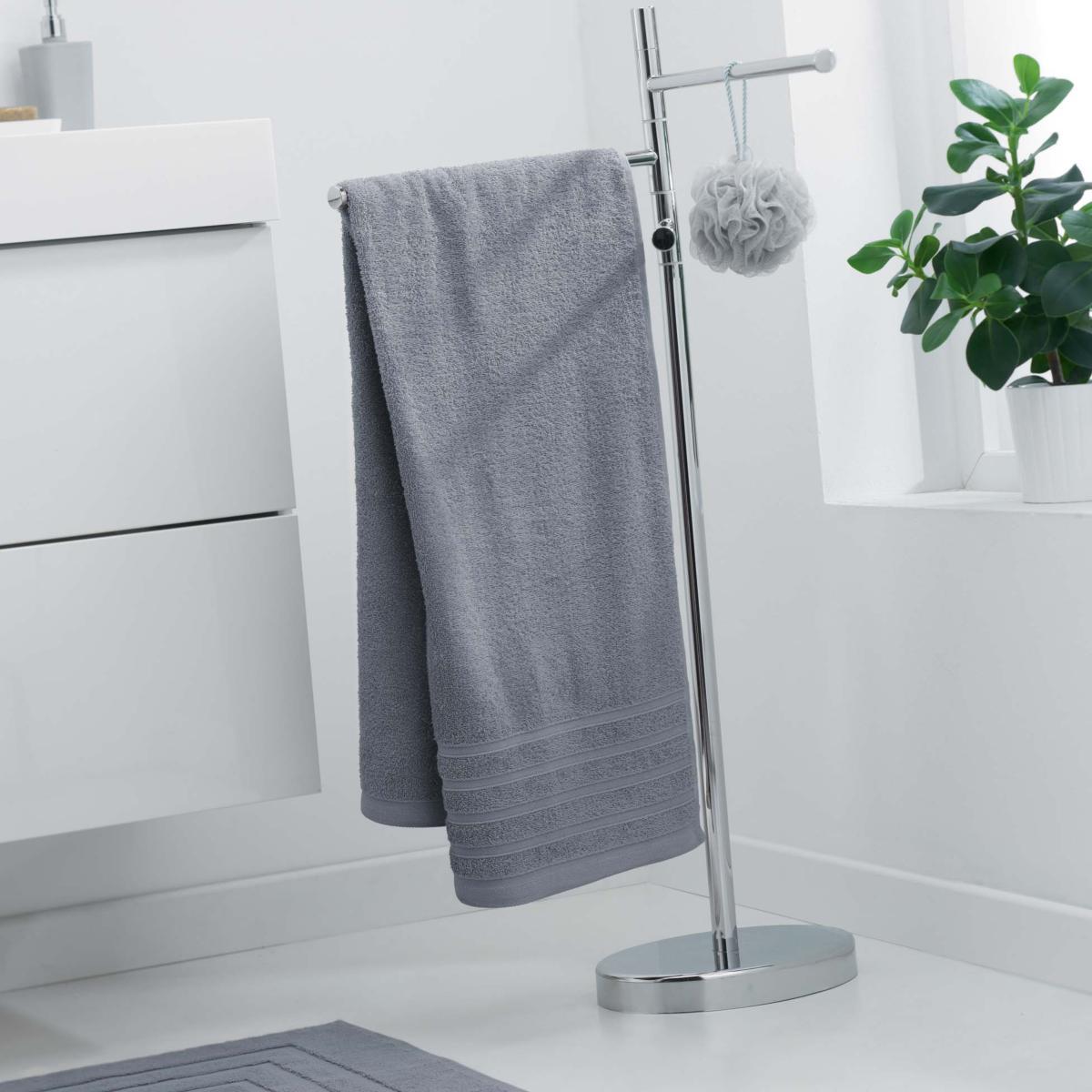 drap de douche 70x130cm uni gris clair 100 coton j k markets. Black Bedroom Furniture Sets. Home Design Ideas