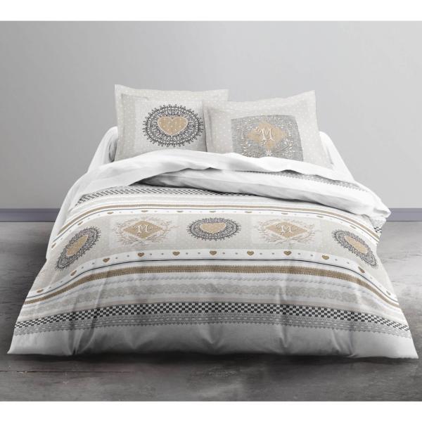 parure housse de couette lovely 220x240cm 2 personnes 100 coton j k markets. Black Bedroom Furniture Sets. Home Design Ideas