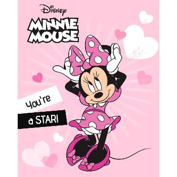 Plaid Polaire Disney Minnie, Rose, 100x140cm, 100% Polyester