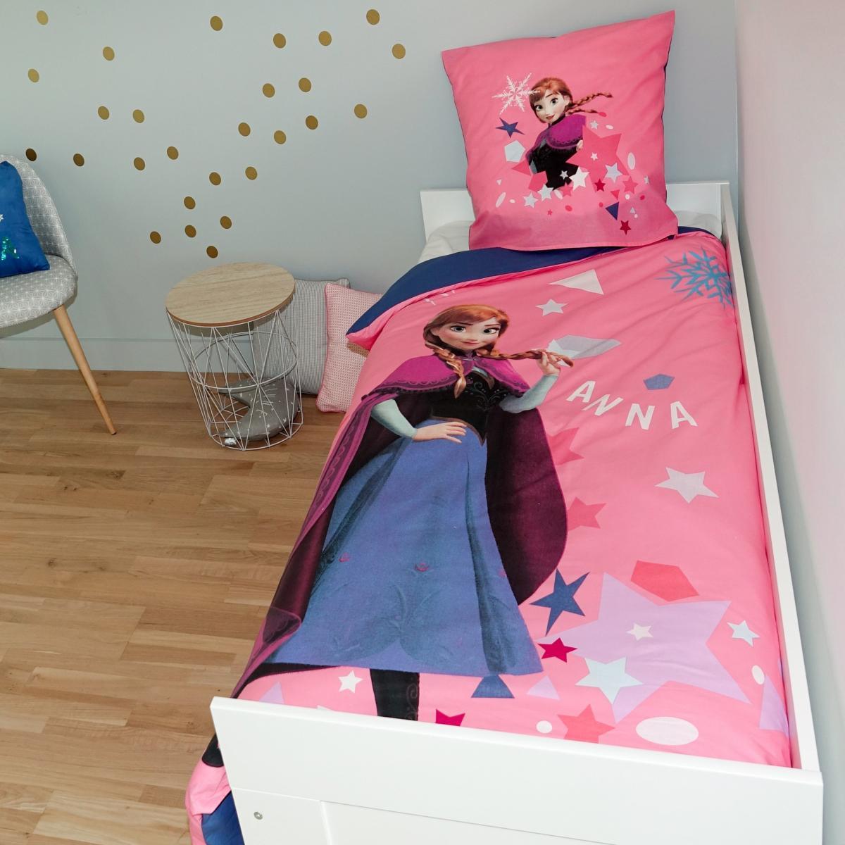 housse de couette reine des neiges 2 r versible 140x200cm 1 personne 100 coton j k markets. Black Bedroom Furniture Sets. Home Design Ideas