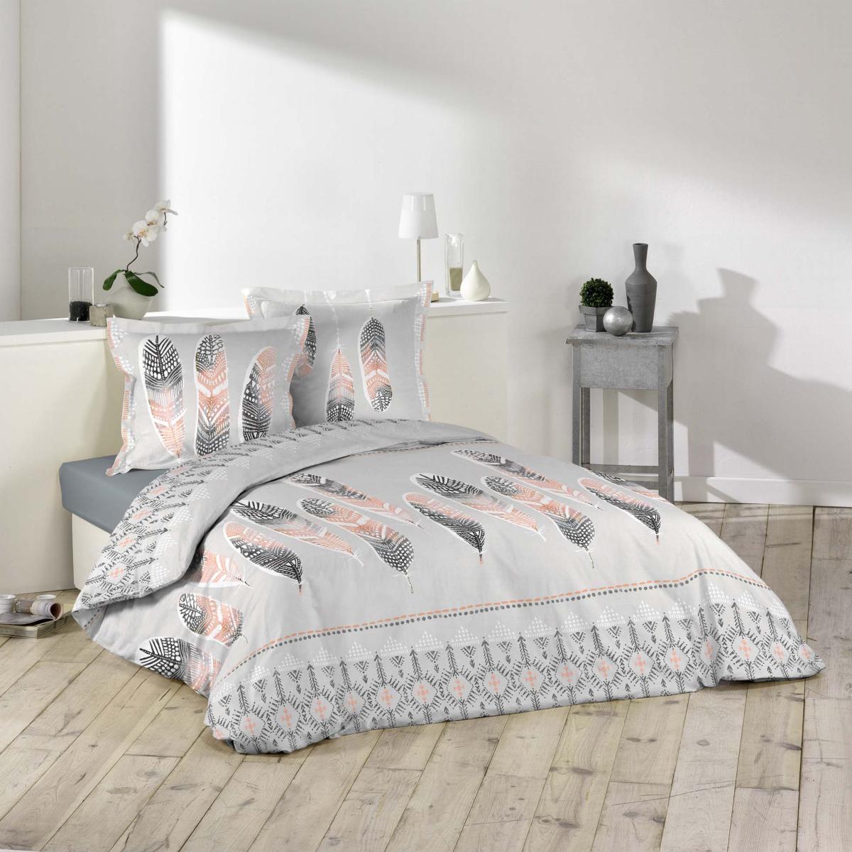 parure housse de couette plume ethnique gris et orange 100 coton 57fils j k markets. Black Bedroom Furniture Sets. Home Design Ideas