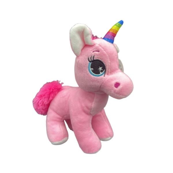 Peluche licorne debout, Rose, 22 x 16 x 9 cm (hxLxl), Polyester